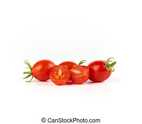 bunch of red ripe cherry tomatoes on a white background