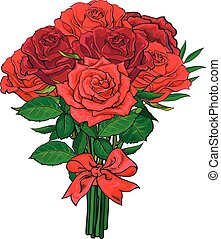 Bunch of red rose flowers tied with scarlet ribbon