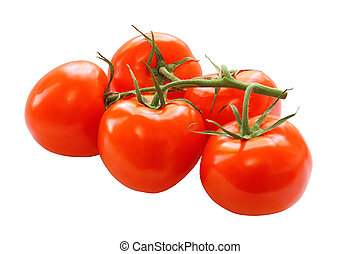 bunch of red tomatoes isolated on a white background