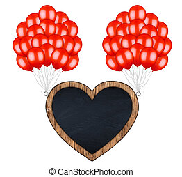 bunch of redl balloons carrying flying heart shaped billboard