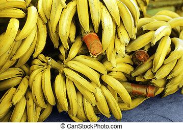 Bananas - Bunch Of Ripe Bananas At A  boat dock in Honduras