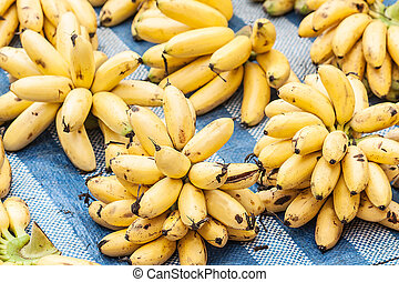 Bunch Of Ripe Bananas At Street Market In Thailand