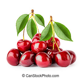 Bunch of ripe cherries with leaves