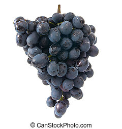 Bunch of ripe red grapes isolated on white background