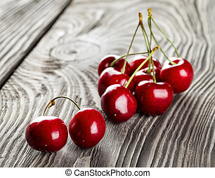 Bunch of ripe sweet cherries