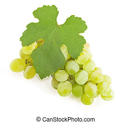 Bunch of ripe yellow grapes on a white background