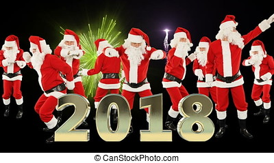 Bunch of Santa Claus Dancing and 2018 sign, fireworks