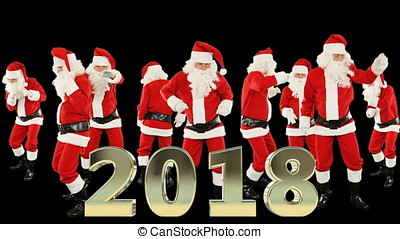 Bunch of Santa Claus Dancing and 2018 sign