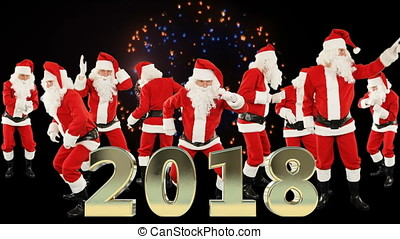 Bunch of Santa Claus Dancing and 2018 sign with fireworks
