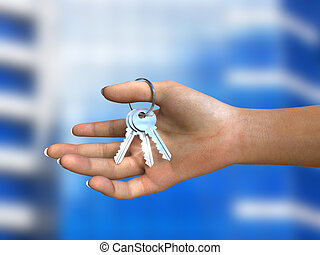 Bunch of shiny keys in woman\'s hand