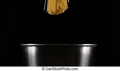 bunch of spaghetti falls in a pot, slow motion