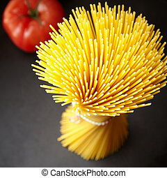 Bunch of spaghetti in close up view