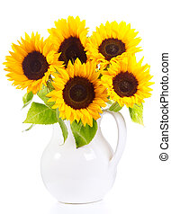 sunflowers - bunch of sunflowers isolated on a white ...