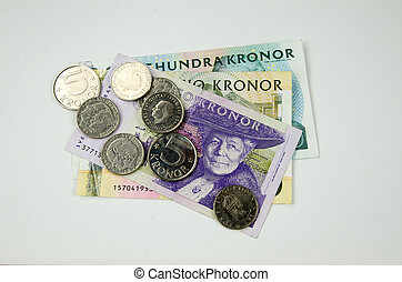 Bunch of swedish money - A bunch of swedish money at white...
