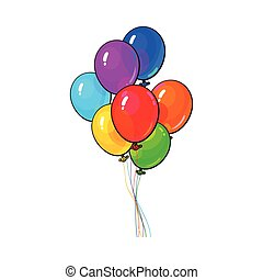 Bunch of three bright and colorful balloons