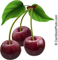 Bunch of three cherries