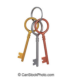 Bunch of three keys, isolated on white background, 3d rendering