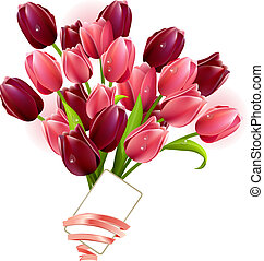 Bunch of tulips and small card isolated on white background