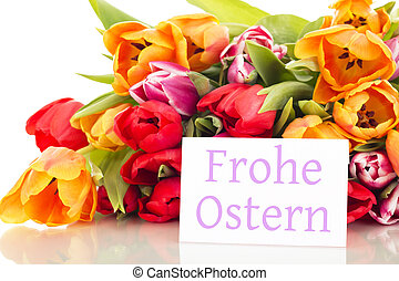 Bunch of tulips with card: happy easter