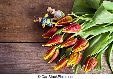 bunch of tulips with decoration