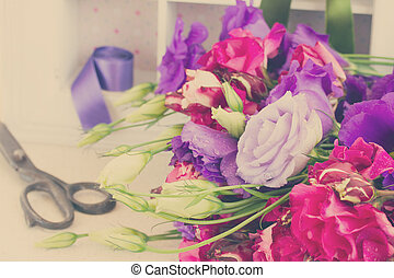 bunch of violet and mauve eustoma flowers - bunch of fresh...