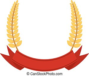 Bunch of wheat frame. Ribbon with organic food. Flat vector style.