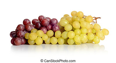 Bunch of white and red grapes isolated on white