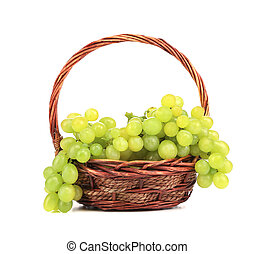 Bunch of white grapes in a basket.