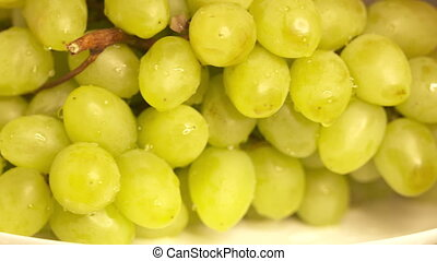 Bunch of white grapes turning around. Wet green grape with water drops close-up