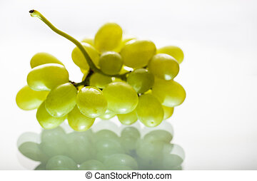 Bunch of white grapes with reflection