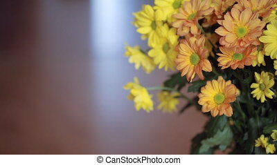 Bunch of yellow flowers closeup