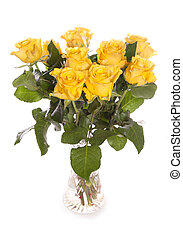 Bunch of yellow roses in a vase
