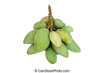 Bunch of young mango isolated on white with Clipping Path