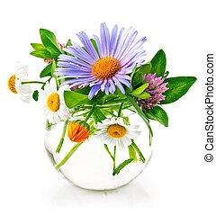 Bunch summery flowers in glass vase
