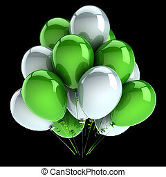 bunch., vert, carnaval, décoration, anniversaire, fête, blanc, ballons