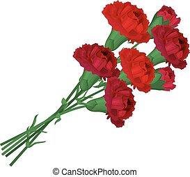 Bunch with red carnations isolated on white