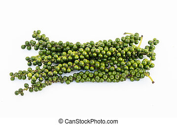 Bunches of fresh green piper nigrum on white background - ...