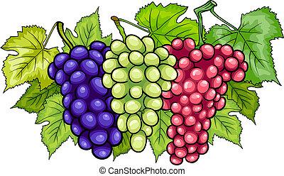 bunches of grapes cartoon illustration - Cartoon...