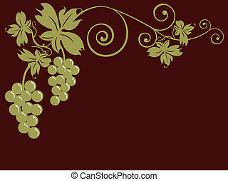 Bunches Of Grapes - Golden bunches of grapes and leaves over...