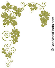 Illustration: Isolated bunches of grapes and leaves over white background. Autumn, harvest, oenology, cuisine, wine concept.