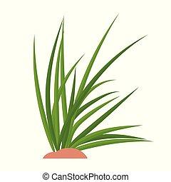 Bunches of green grass on an earthen mound. Design of summer...
