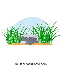 Bunches of green grass on an earthen mound. Design of summer cards. Flat cartoon illustration. Objects isolated on a white background.