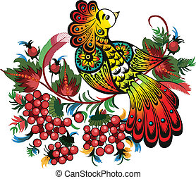 bunches of rowan and fabulous bird - The illustration shows...