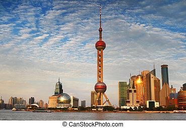 bund, shanghai, émission, perle, 2, porcelaine, tour