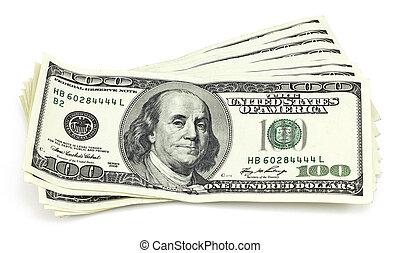 bundel, van, hundred-dollar, rekeningen