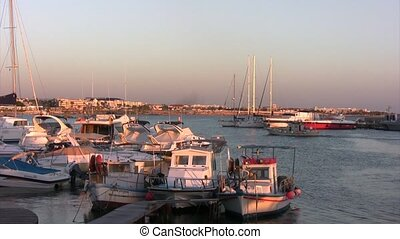 Bunder with boats in Cyprus.