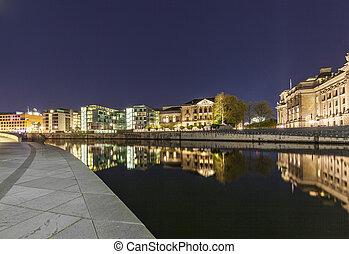 Bundestag buildings in Berlin Mitte with river spree by...