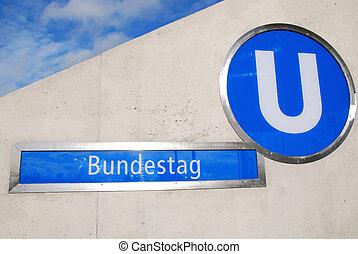 bundestag, parlamento, metro, alemán, señal, berlín