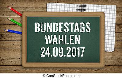 Bundestagswahlen, German Federal Elections, on blackboard -...
