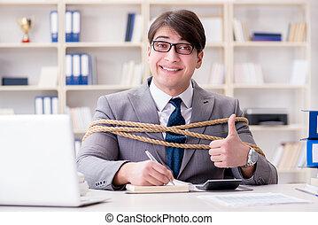 bundet, lina uppe, kontor, affärsman